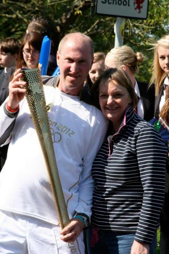 Lion Torch Bearer Jason Vickers with Lion Ann Hunt
