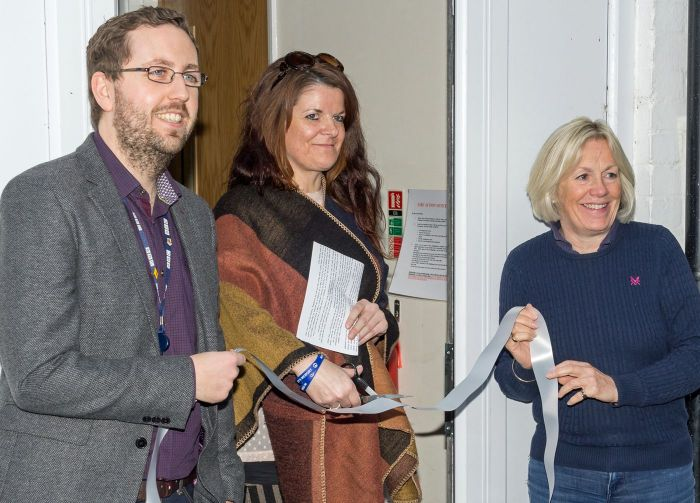 Ben McGrail and the Charity Founder Charley's Mother along with Tessa Munt cut the ribbon