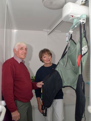 Rotary Past President - Ian Breed, Lion Olive Holdom - Community looking at the Bathing Hoist for Lara